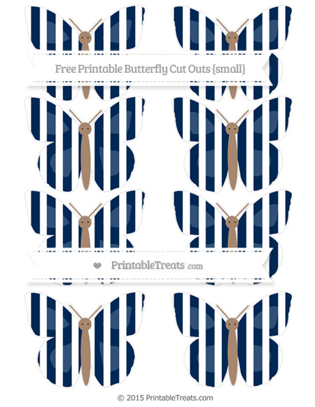 Free Navy Blue Striped Small Butterfly Cut Outs