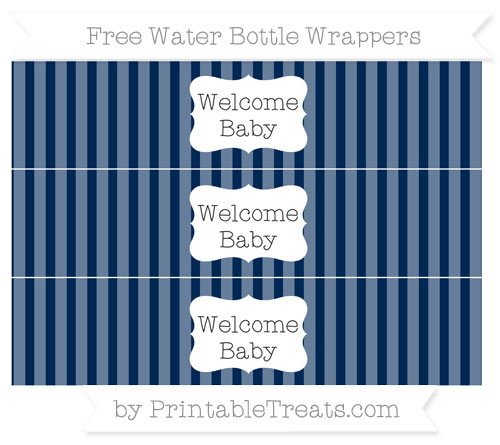 Free Navy Blue Striped Welcome Baby Water Bottle Wrappers