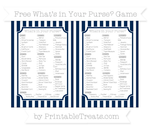 Free Navy Blue Striped What's in Your Purse Baby Shower Game