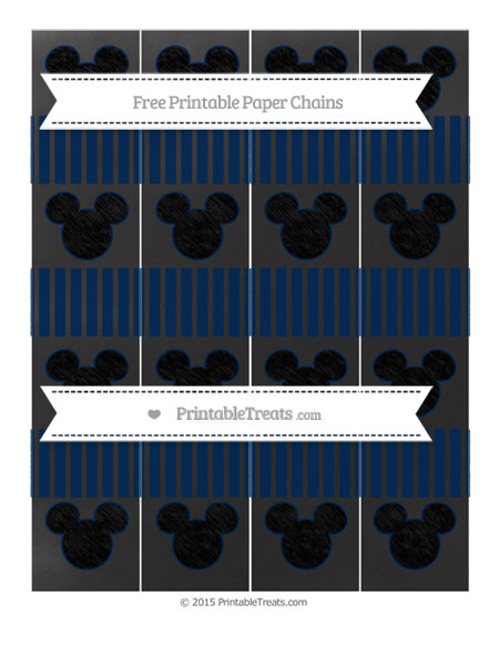 Free Navy Blue Thin Striped Pattern Chalk Style Mickey Mouse Paper Chains