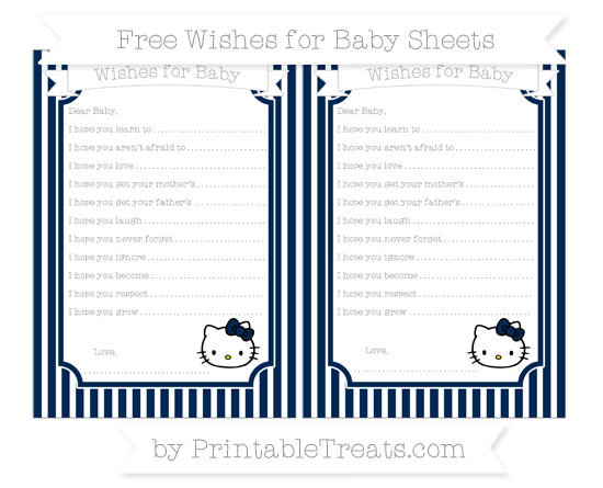 Free Navy Blue Thin Striped Pattern Hello Kitty Wishes for Baby Sheets