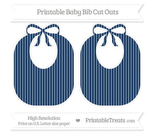 Free Navy Blue Thin Striped Pattern Large Baby Bib Cut Outs