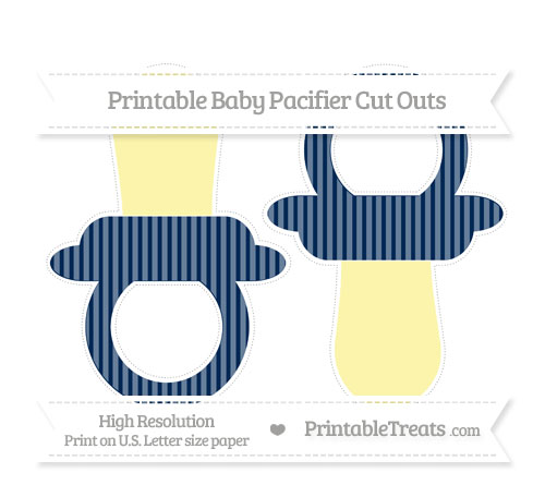 Free Navy Blue Thin Striped Pattern Large Baby Pacifier Cut Outs