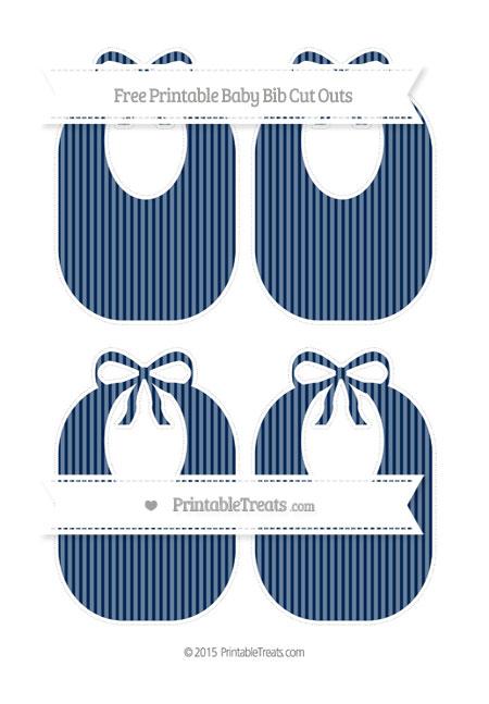 Free Navy Blue Thin Striped Pattern Medium Baby Bib Cut Outs