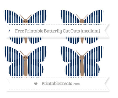 Free Navy Blue Thin Striped Pattern Medium Butterfly Cut Outs