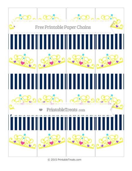 Free Navy Blue Thin Striped Pattern Princess Tiara Paper Chains