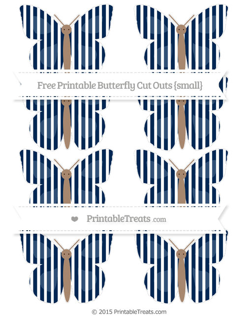 Free Navy Blue Thin Striped Pattern Small Butterfly Cut Outs