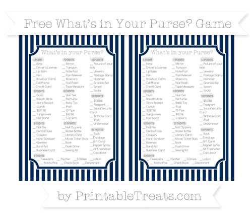 Free Navy Blue Thin Striped Pattern What's in Your Purse Baby Shower Game