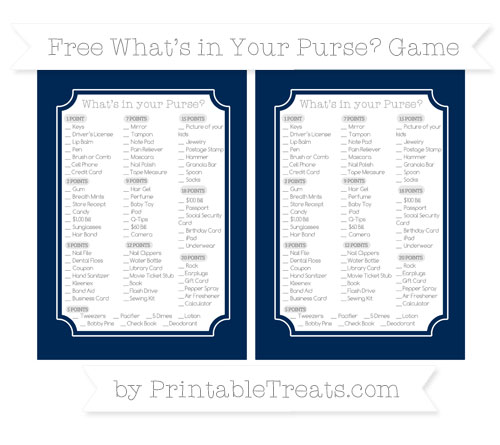 Free Navy Blue What's in Your Purse Baby Shower Game