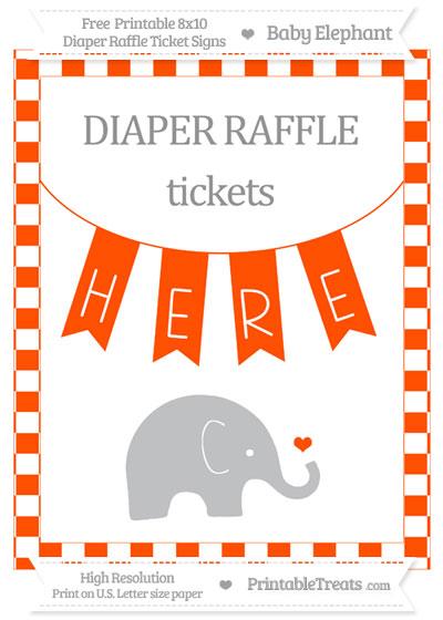 Free Orange Checker Pattern Baby Elephant 8x10 Diaper Raffle Ticket Sign