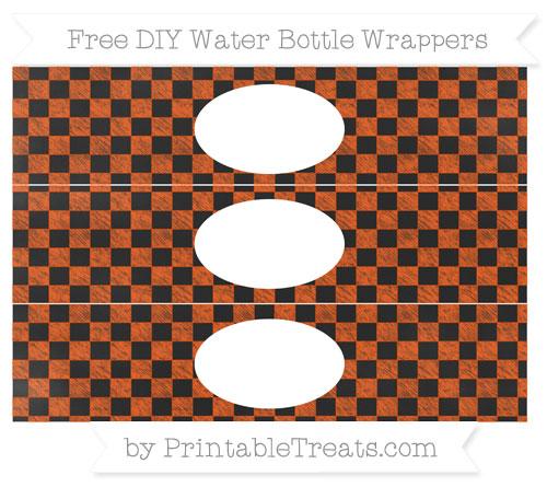 Free Orange Checker Pattern Chalk Style DIY Water Bottle Wrappers