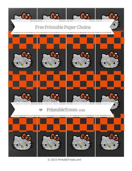 Free Orange Checker Pattern Chalk Style Hello Kitty Paper Chains