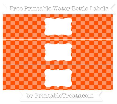 Free Orange Checker Pattern Water Bottle Labels