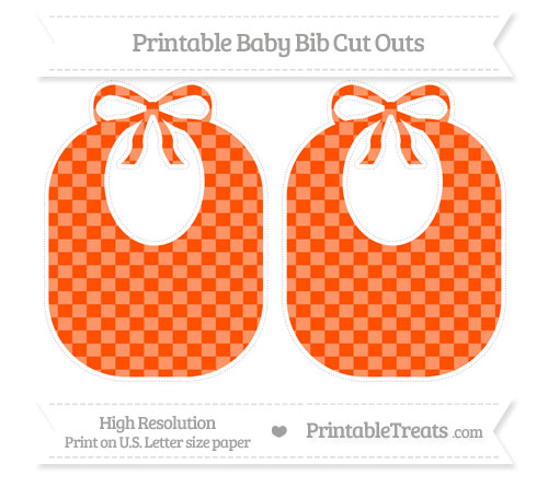 Free Orange Checker Pattern Large Baby Bib Cut Outs