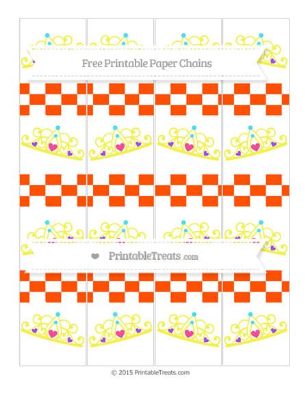 Free Orange Checker Pattern Princess Tiara Paper Chains
