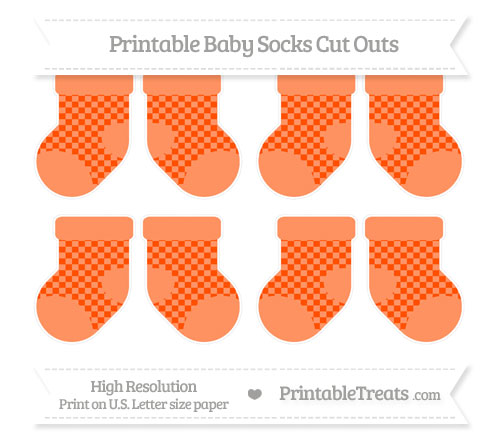 Free Orange Checker Pattern Small Baby Socks Cut Outs