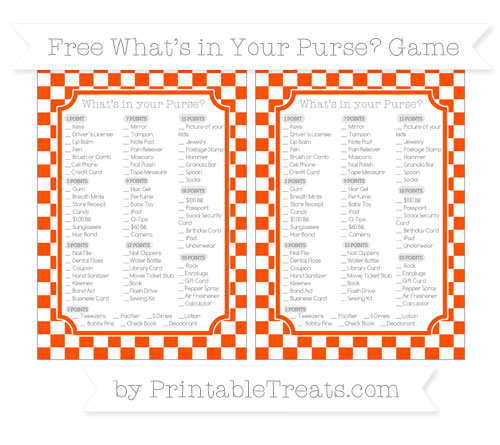 Free Orange Checker Pattern What's in Your Purse Baby Shower Game