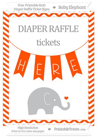 Free Orange Chevron Baby Elephant 8x10 Diaper Raffle Ticket Sign