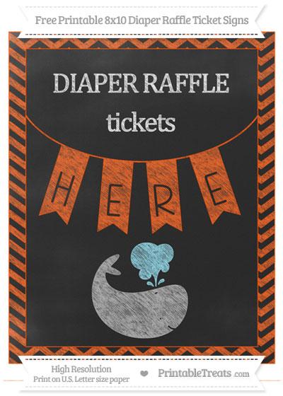 Free Orange Chevron Chalk Style Whale 8x10 Diaper Raffle Ticket Sign