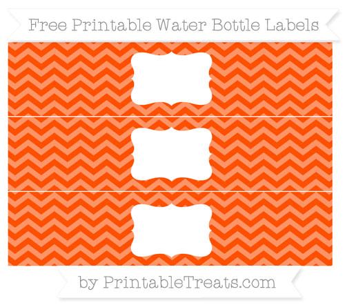 Free Orange Chevron Water Bottle Labels