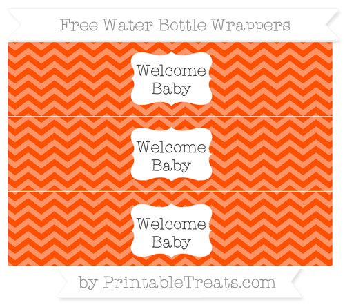 Free Orange Chevron Welcome Baby Water Bottle Wrappers