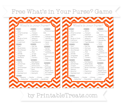 Free Orange Chevron What's in Your Purse Baby Shower Game