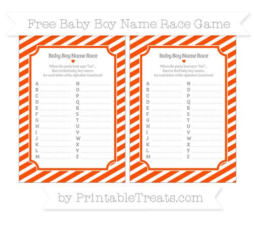 Free Orange Diagonal Striped Baby Boy Name Race Game