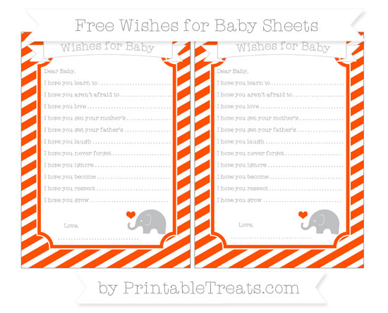 Free Orange Diagonal Striped Baby Elephant Wishes for Baby Sheets