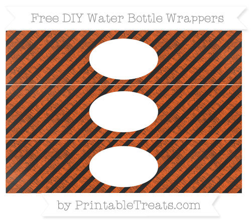 Free Orange Diagonal Striped Chalk Style DIY Water Bottle Wrappers