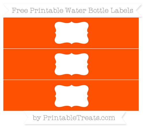 Free Orange Water Bottle Labels