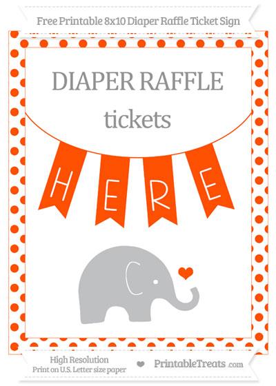 Free Orange Dotted Baby Elephant 8x10 Diaper Raffle Ticket Sign