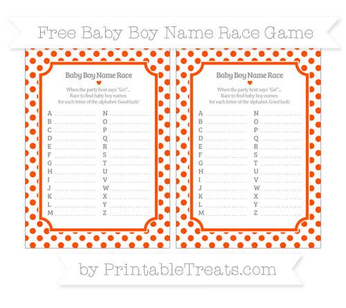 Free Orange Dotted Pattern Baby Boy Name Race Game