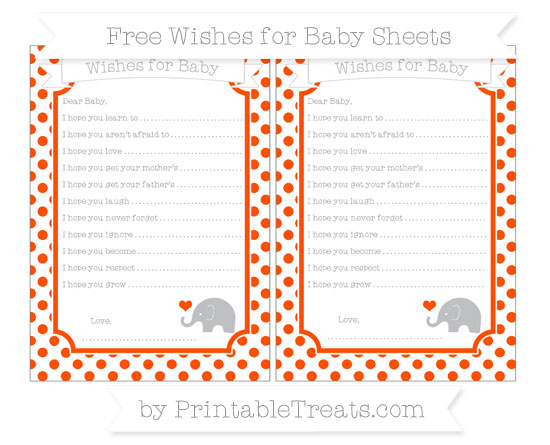 Free Orange Dotted Pattern Baby Elephant Wishes for Baby Sheets