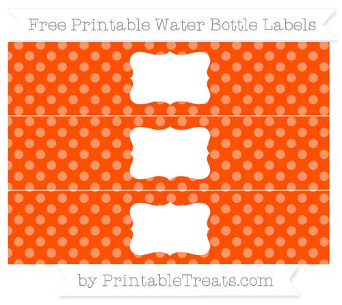 Free Orange Dotted Pattern Water Bottle Labels
