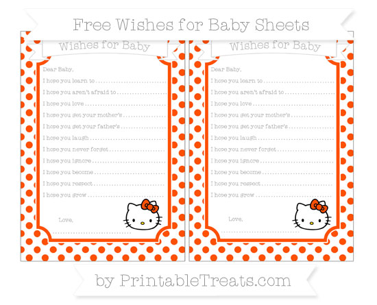 Free Orange Dotted Pattern Hello Kitty Wishes for Baby Sheets