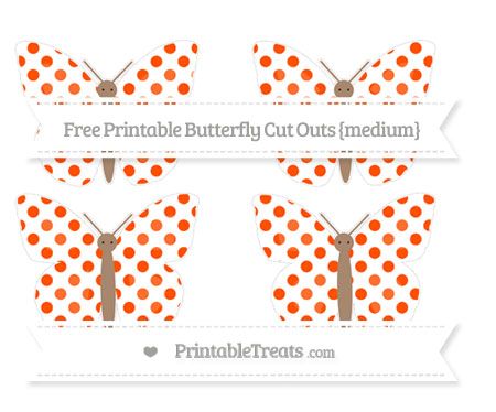 Free Orange Dotted Pattern Medium Butterfly Cut Outs