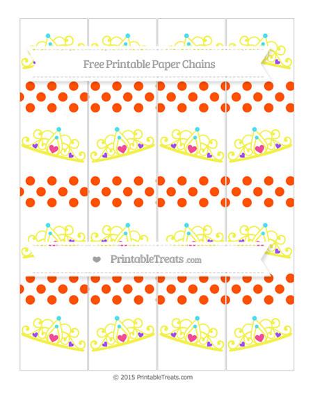Free Orange Dotted Pattern Princess Tiara Paper Chains