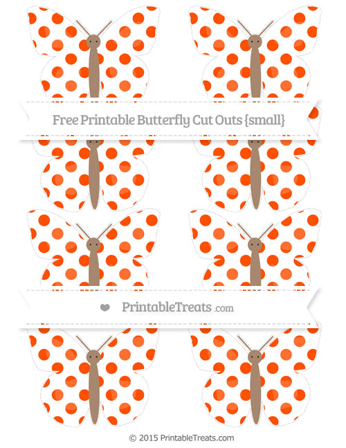 Free Orange Dotted Pattern Small Butterfly Cut Outs
