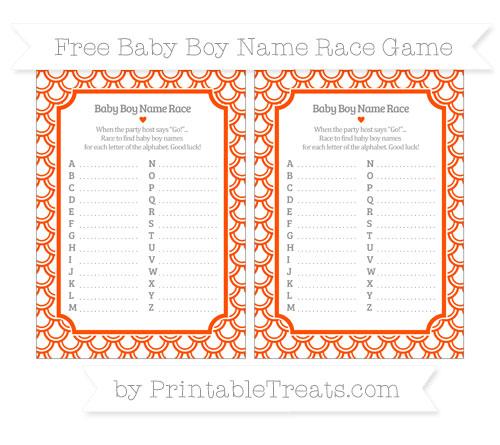 Free Orange Fish Scale Pattern Baby Boy Name Race Game