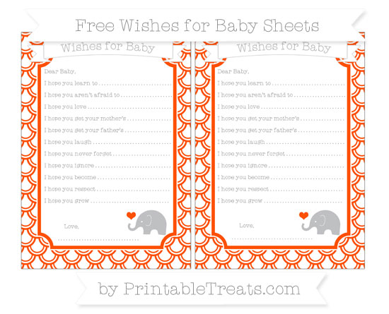 Free Orange Fish Scale Pattern Baby Elephant Wishes for Baby Sheets