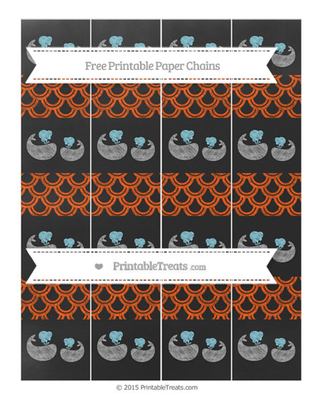 Free Orange Fish Scale Pattern Chalk Style Baby Whale Paper Chains