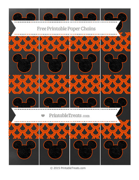 Free Orange Fish Scale Pattern Chalk Style Mickey Mouse Paper Chains