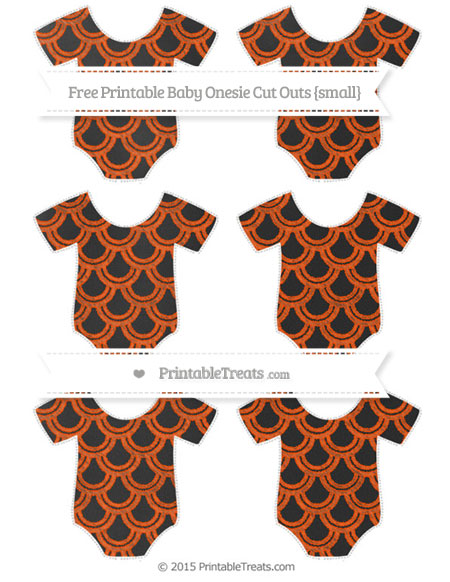 Free Orange Fish Scale Pattern Chalk Style Small Baby Onesie Cut Outs