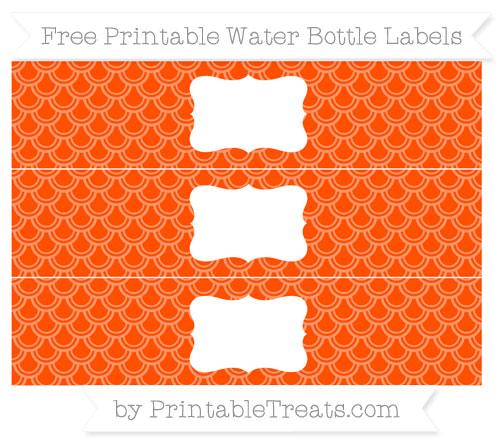 Free Orange Fish Scale Pattern Water Bottle Labels