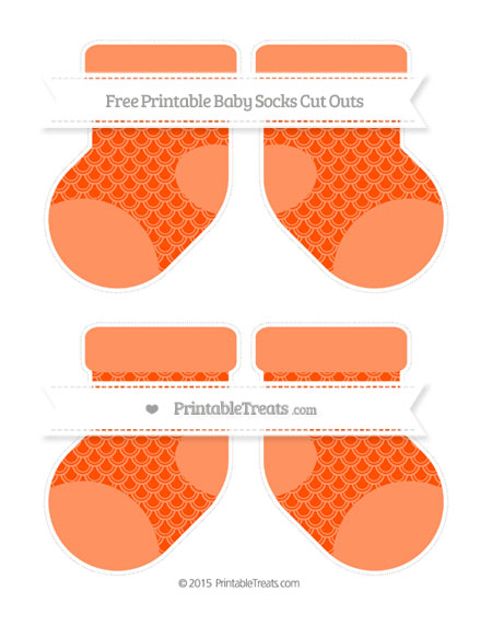 Free Orange Fish Scale Pattern Medium Baby Socks Cut Outs