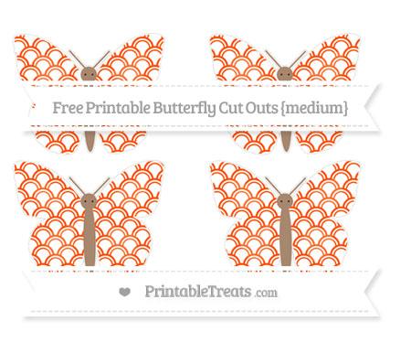 Free Orange Fish Scale Pattern Medium Butterfly Cut Outs