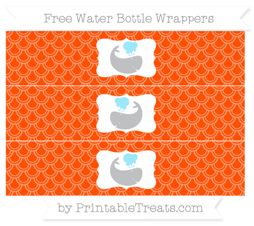 Free Orange Fish Scale Pattern Whale Water Bottle Wrappers