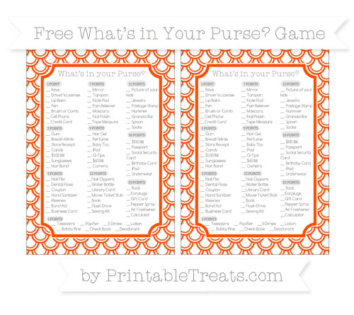 Free Orange Fish Scale Pattern What's in Your Purse Baby Shower Game