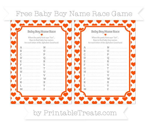 Free Orange Heart Pattern Baby Boy Name Race Game