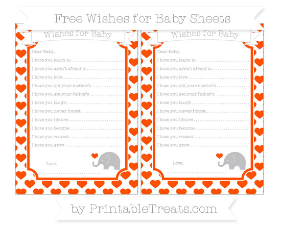 Free Orange Heart Pattern Baby Elephant Wishes for Baby Sheets